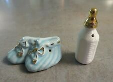 Vintage Miniature Baby Bottle and Shoes Booties Salt and Pepper Shakers