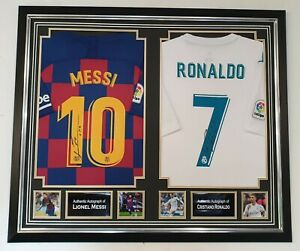 *** Rare Lionel Messi and Cristiano Ronaldo Signed Shirt Autographed Display ***