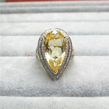 Very Nice Solid 14K Yellow Gold Natural Diamond & Yellow Ravishing Citrine Ring