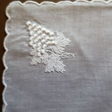 NEW Vintage Old Stock Hand Embroidered White Cotton Women's Handkerchief