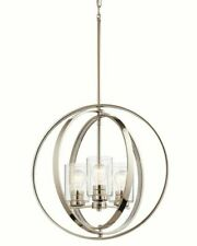 Kichler 20-in Polished nickel Art Deco Hardwired Single Clear Glass Orb Pendant
