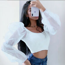 UK Women Cropped Tops Sheer Tee Casual T-shirts Mesh Puff Sleeve Blouse Slim Fit