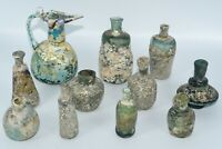 11 Lovely Ancient Iridescent Roman Glass Jug & Bottles Vessels with Full Patina