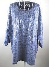 Quacker Factory Womans Plus Size 1X Leopard Blue Popover Top Sequin