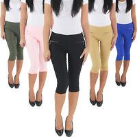 Damen Leggings Jeggings Treggings 3/4 Hüft Stretch Capri Shorts Sommer Hose