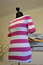 Ralph Lauren Womens Top Ailis Elbow Sleeve Knit Pink White Stripe Sz. Small