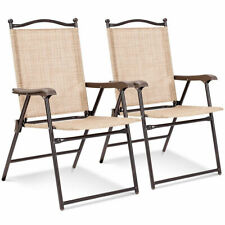 Set of 2 Patio Folding Sling Back Chairs Camping Deck Garden  Beach Yellow