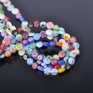 50pcs 6mm Oblate Mixed Millefiori Glass Loose Spacer Beads Craft Findings Lots