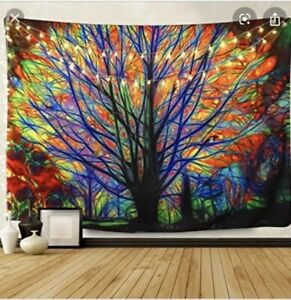 BLEUM CADE Colorful Tree Tapestry Wall Hanging 51x59