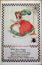 Little Miss Muffet & Spider 1943 Flora White/Artist-Signed Postcard