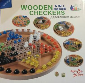 6 in 1 Wooden Board Game- Chinese Checker, Abdone, Gomoku, Peg Solitaire etc