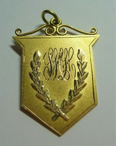 ANTIQUE ESTATE 9CT YELLOW GOLD BARMERA ATHLETIC CLUB MEDAL FOB  C1922 ST #19101