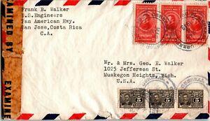 Costa Rica Postal History: LOT #6 1943 Censored Air 60c to MICHIGAN $$$