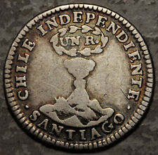 """Chile Silver 1 Real 1834 -Lj (""""Vulcano"""") 1-Year Type! Mintage: 16,000"""