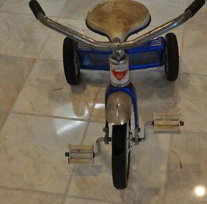 Vintage AMF Tricycle Blue Tricycle Olney Illinois Kids Bike Trike DAMAGED