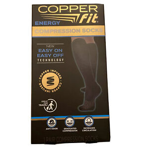 Copper Fit Energy Compression Socks Unisex Size L/XL BLACK Anti-Odor (NEW)
