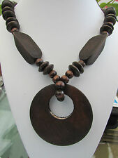 """A CHUNKY DARK-BROWN WOODEN BEAD STRETCH NECKLACE. 20"""" + EARRINGS & BRACELET."""