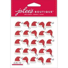 Scrapbooking Stickers Jolee's Christmas Santa Hat Repeats Gems Red Glitter Hats