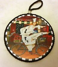 """1 RARE WALL WOODEN ROUND PLAQUE w/cork back, 7"""", 2 Chefs on bike with wine"""