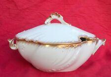 Porcelaine de Limoges ancienne Jean Pouyat bouillon blanc or