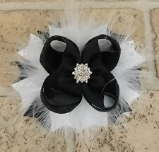 Handmade Black And White Boutique Stacked Hair Bows