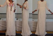BOHO/GYPSY/ETHNIC Vtg 70's 2 LAYERS CREAM COTTON GAUZE EMBRO FESTIVAL MAXI DRESS