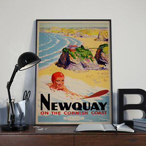 Vintage Newquay Cornwall Travel & Tourism Poster Print Poster Picture A3 A4
