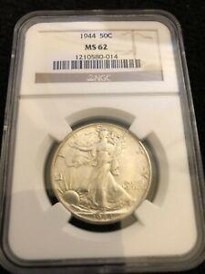 1944 50c Walking Liberty Silver Half Dollar NGC MS 62 *FREE SHIPPING*