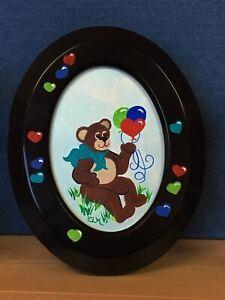 acrylic paintingBear w/Aqua Bowteddy bear w/balloons & hearts for child's room
