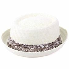 b4fed24bbb735 Straw Hat Porkpie Pork Pie Trilby Mens Ladies Summer Sun Retro Unisex  Hawkins 57cm off White