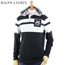 Polo Ralph Lauren Custom-Fit  Castle Patch Hooded Rugby in Size Medium in Black