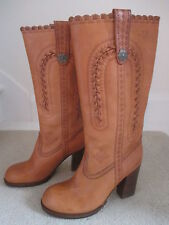 ASH LADIES NEW TAN LEATHER LONG BOOTS SIZE 4 ( 37 )