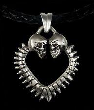 Sterling Silver Heart Skull Engagement Pendant Lovers Of Valdaro Women Necklace