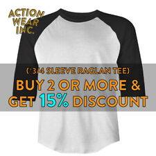 SHAKA MENS PLAIN BASEBALL T SHIRT 3/4 SLEEVE CASUAL RAGLAN TEE ACTIVE HIP HOP