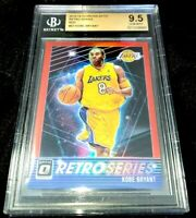 KOBE BRYANT 18-19 OPTIC RETRO SERIES RED HOLO PRIZM PARALLEL BGS 9.5 POP 1/1