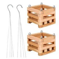 Hanging Planter Basket Set 2 PACK Wooden Square