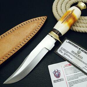 10 INCHES HANDMADE STAINLESS STEEL CUSTOM HUNTING KNIFE - BONE - SB-2304