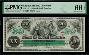 1872 $20 Obsolete - South Carolina, Columbia - Revenue Bond Scrip - PMG 66 EPQ