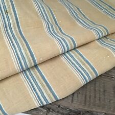 Antique Early 19th C. French Blue stripe Linen Cotton Ticking Rare