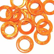 MP2489 Orange Gold Drawbench 30mm Round Donut Mother of Pearl Shell Beads 12/pkg