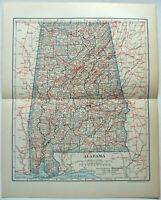 Original 1908 Map of Alabama by Dodd Mead & Company. Antique