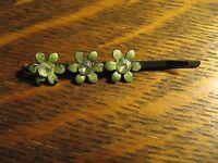 Barrette Vintage 1960's Hair Clip Clasp Green Flower Diamond Rhinestone Clip