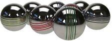 SET OF 8 PETANQUE COLOUR BOULES, 70 Mm - Weight 560 G. Steel Chrome Boules