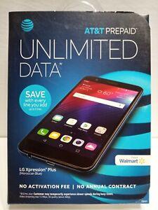 New AT&T LG Xpression Plus Prepaid Smartphone Blue 4G LTE 16GB Free Shipping