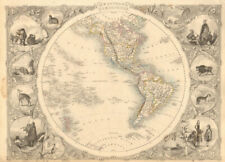 WESTERN HEMISPHERE showing Gran Colombia, Russian America RAPKIN/TALLIS 1851 map