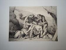 Eugène DELACROIX (1798-1863) GRAVURE PIETA MORT JESUS CHRIST MARIE CROIX 1860