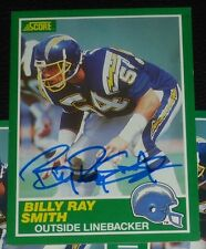 Billy Ray Smith Signed Chargers 1989 Score Football Card #222 Autograph Arkansas