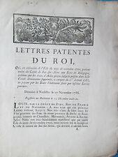 LETTRES PATENTES DU ROI 1786 : UNION DU COMTE DE BAR SUR SEINE (BOURGOGNE)