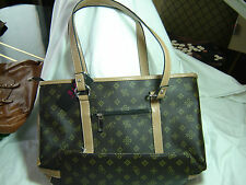 Brown Monogram Designer Handbags by Becky & Gene, Great Quality