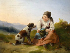 Huge Oil painting beautiful young girl feeding her pet dog in sunset landscape